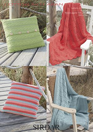 Sirdar Cotton Rich Aran 7749 Cushion Covers And Throws Knitting