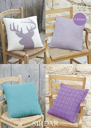 Sirdar Country Style Dk 7755 Cushion Cover Knitting Pattern
