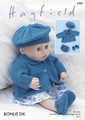 Sirdar Dk Knitting Pattern 2483 Dolls Jacket Beret Shoes Pants
