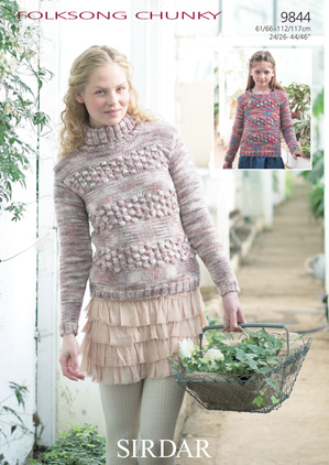 Sirdar Folksong Chunky 9844 Jumpers Knitting Pattern