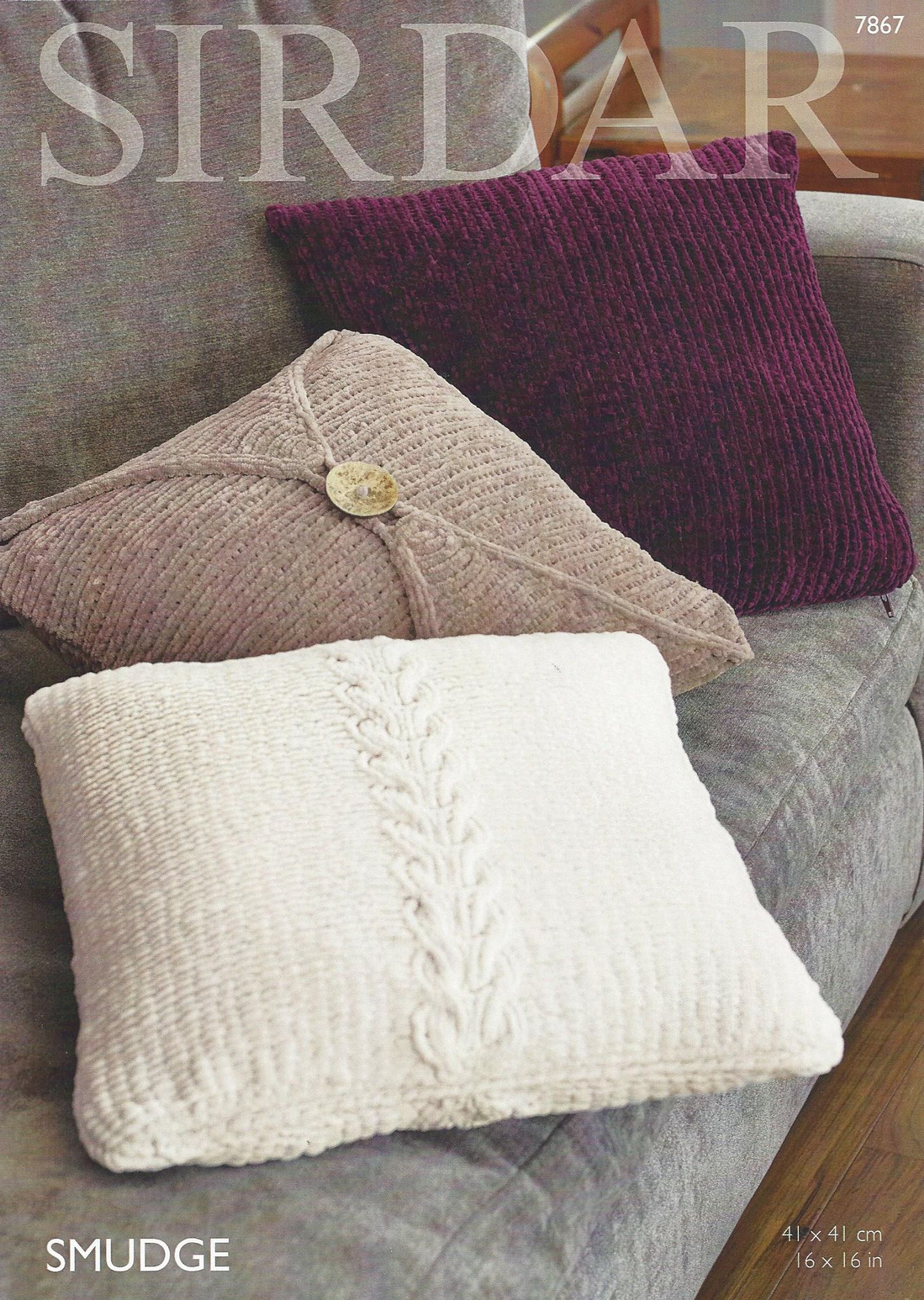 Sirdar Smudge - 7867 Cushion Covers Knitting Pattern
