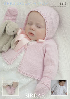 bc3fcbb61 Sirdar Snuggly 4ply - 1818 Cardigans Bonnet Mittens and Bootees ...