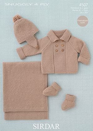 Sirdar Snuggly 4ply 4507 Baby Boy S Coat Helmet Bootees And