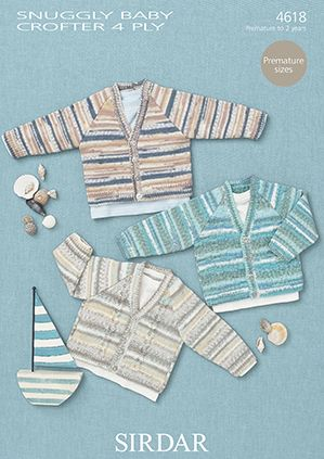 Sirdar Snuggly Baby Crofter 4ply 4618 Cardigans Knitting Pattern
