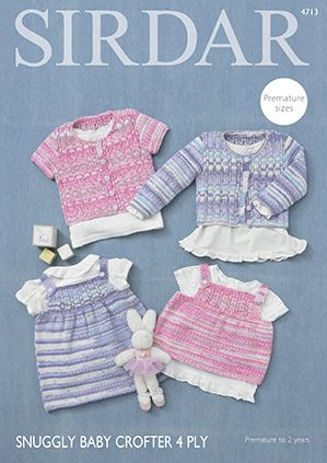 Sirdar Snuggly Baby Crofter 4ply 4713 Cardigans Angel Top Dress