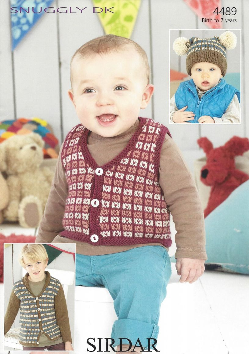 Sirdar Snuggly DK - 4489 Waistcoat Cardigan and Tea Bag Hat Knitting ...