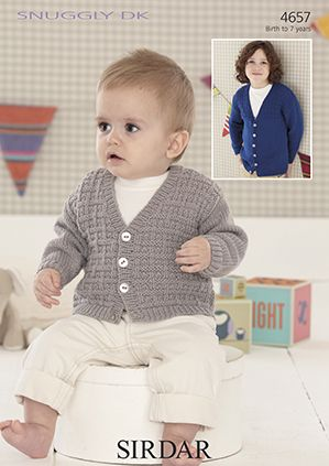 Sirdar Snuggly Dk 4657 Boy S V Neck Cardigans Knitting Pattern