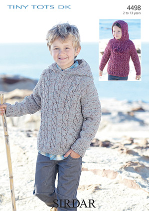 Sirdar Snuggly Tiny Tots Dk 4498 Hooded Sweater Knitting Pattern