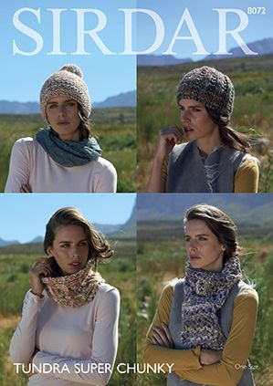 Sirdar Tundra Super Chunky - 8072 Scarves, Snood & Ribbed Hat Knitting  Pattern